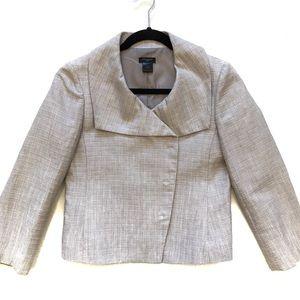 Ann Taylor light grey trapeze blazer jacket 0